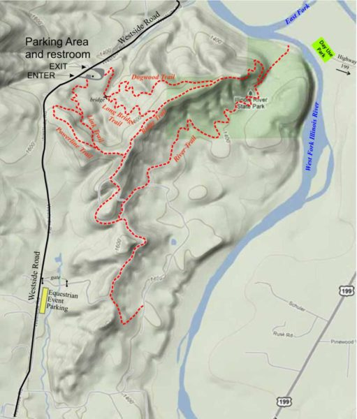 Map of equestrian loop trails at Illinois River Forks State Park, Cave Junction, Oregon