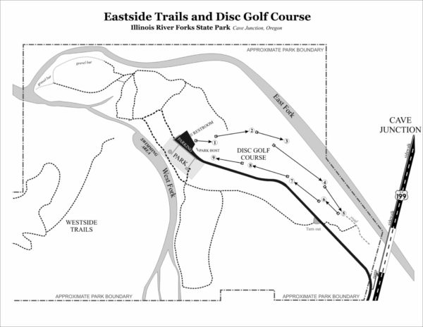 Map of trails around the eastside day use park at Illinois River Forks State Park, Cave Junction Oregon