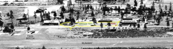 Aerial photo of Siskiyou Smokejumper Base taken in 1958. Cave Junction, southwest Oregon