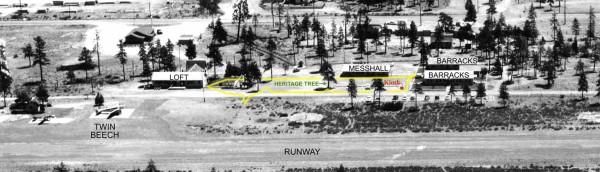 Aerial photo of Siskiyou Smokejumper Base taken in 1958. Cave Junction, southwest Oregon