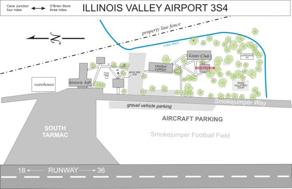 Illinois Valley Airport map of historic smokejumper base grounds and aircraft parking