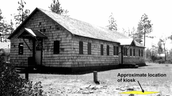 Photo of crew barracks constructed in 1948 at Siskiyou Smokejumper Base, Cave Junction, Oregon.