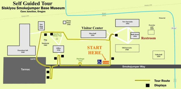Map showing the wheelchair accessible, self guided tour route at Siskiyou Smokejumper Museum, Cave Junction, Oregon