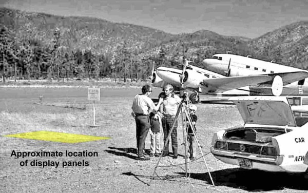 Photo of Stuart Roosa, Apollo 14 astronaut, being interviewed in 1976 after planting one of his moon trees at Siskiyou Smokejumper Museum, Cave Junction, Oregon