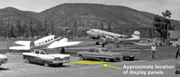 Photo taken in 1973 shows smokejumper aircraft on the tarmac at Siskiyou Smokejumper Base, Cave Junction, Oregon