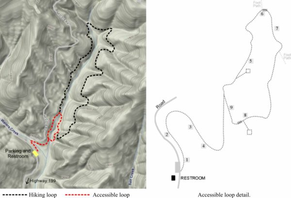 Maps showing the two loop trails at Waters Creek. Cave Junction Oregon