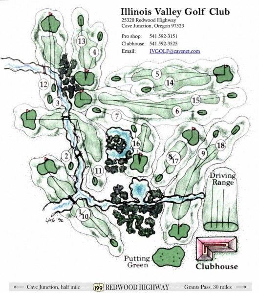 Map of Illinois Valley Golf Course, Cave Junction, Oregon