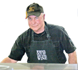 Mark Dickson cooking at the Valley Girls Quilt Show, Cave Junction, Oregon