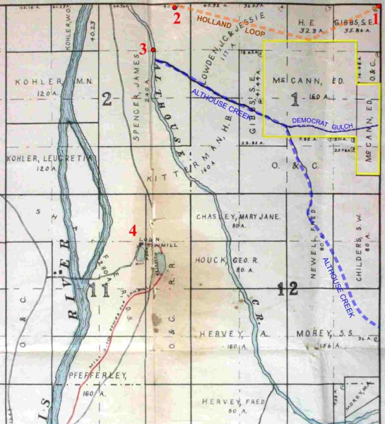1911 map showing the vicinity of Bridgeview and the Althouse Community Church, Cave Junction, southwest Oregon
