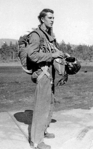Photo of Bob Nolan smokejumper suit and parachute harness, siskiyou smokejumper base, cave junction, southwest Oregon