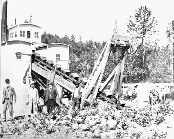 Photo of the Josephine gold dredge under construction