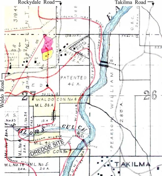 "Map from 1911 shows location of ""old dredge"" near Takilma, southwest Oregon"
