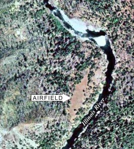 Satellite image of Collier Bar airstrip next to the Illinois River in the Kalmiopsis Wilderness of southwest Oregon.