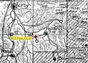 Map from 1915 Oregon Almanac shows location of the town of Althouse. Oregon Caves Road Guide, Cave Junction, Oregon