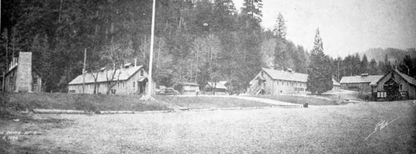 Newspaper photo of civilian conservation corps camp near Oregon Caves. Oregon Caves Highway, Cave Junction, Oregon