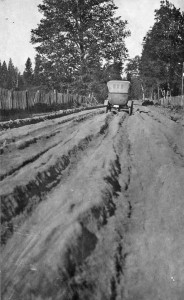 Historic photo showing rust in Holland Loop Road before it was paved. Cave Junction, Oregon