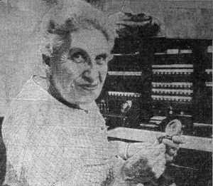Newspaper photo of the telephone operator at Holland Store, Cave Junction, Oregon