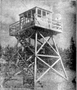 Newspaper photo showing the Kelly Hill Aircraft Warning Station in 1943. Oregon Caves Highway, Cave Junction, Oregon
