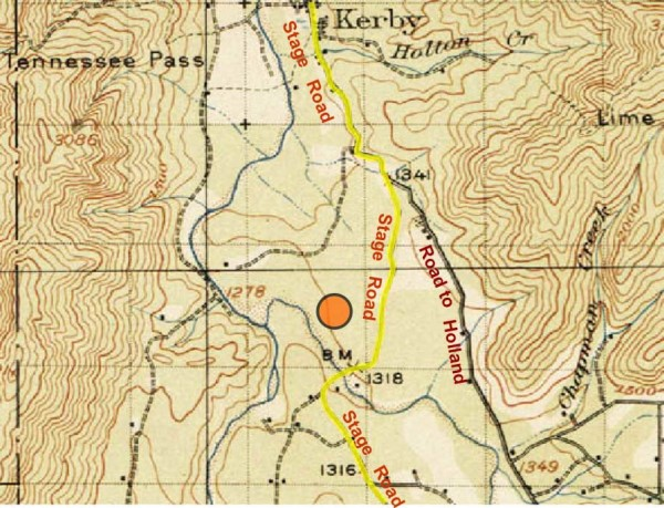 1918 map shows the location of the old stage road in the vicinity of Cave Junction, Oregon