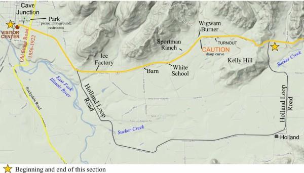 Oregon Caves road guide section 1. Cave Junction, Oregon