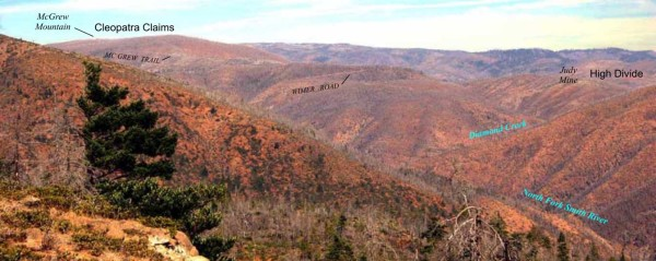 Photo of McGrew Mountain and High Plateau, both locations where nickel exploration has taken place.