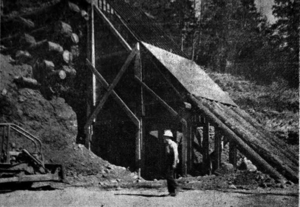 Newspaper photo showing a screening plant for separating rock and nickel ore on Eight Dollar Mountain near Cave Junction, Oregon