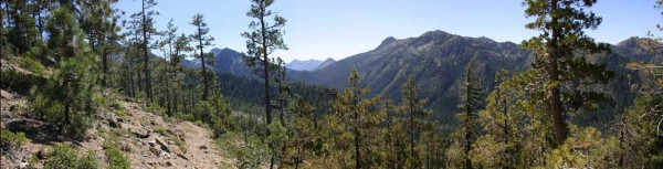 Photo of Black Butte Trail above the East Fork of the Illinois River with Siskiyou Wilderness in background, Oregon California.