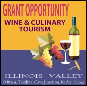 Logo for wine and culinary tourism grant opportunity, Cave Junction, Oregon