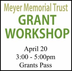Logo for Meyer Memorial Trust grant workshop, southwest Oregon