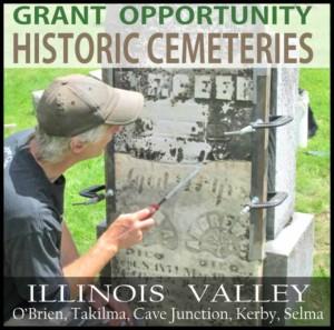 Logo for historic cemetery grant program, Cave Junction, Oregon