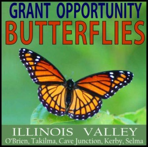 Logo for grant opportunity to preserve butterflies, Cave Junction, Oregon