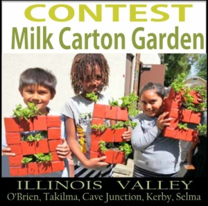 Logo for milk carton garden contest, Cave Junction, Oregon