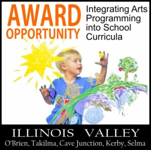 Logo for awards to schools for progressive and innovative integration of art into curriculum, Cave Junction, Oregon