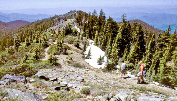 Photo showing the Bigelow Lakes Loop Trail as it descends from Mt Elijah, Oregon Caves National Monument, Cave Junction Oregon