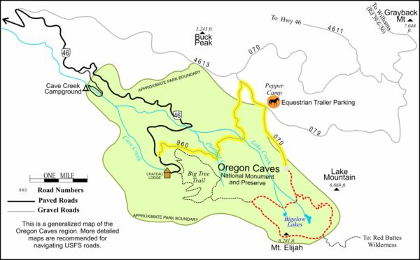 Map of the Bigelow Lakes Loop Trail, Oregon Caves National Monument, Cave Junction, Oregon