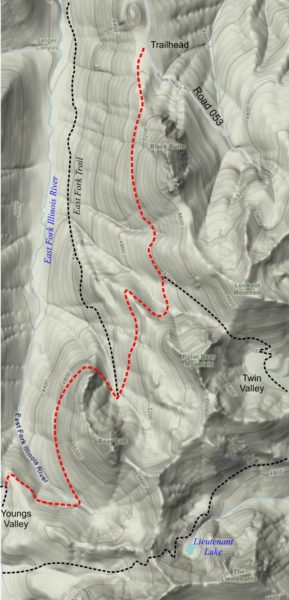 Map of the Black Butte Trail, Siskiyou Wilderness, Cave Junction Oregon