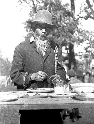 Photo of Gassy Bow, a Chinese who operated a packing business in the southwest Oregon region. Siskiyou Mountain history, Cave Junction, Oregon