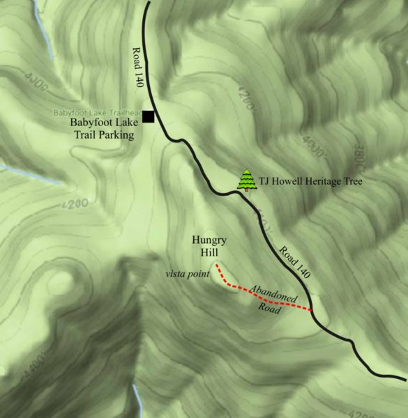 Map showing the trail to the top of Hungry Hill, Cave Junction, Oregon