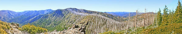 Panorama photo looking west into the Kalmiopsis Wilderness from Hungry Hill, Cave Junction Oregon
