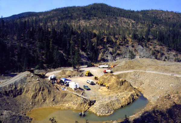 Photo showing an active mine in the upper watershed of Josephine Creek about five miles north of Cave Junction, Oregon