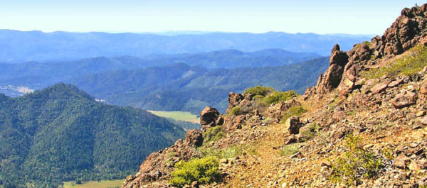 Kerby Peak Trail looking north toward Deer Creek Valley and the town of Selma, Oregon