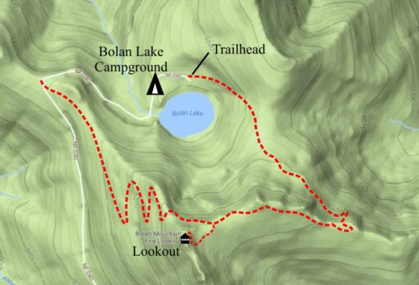 Map of trail to Bolan Mountain Lookout, Cave Junction, Oregon