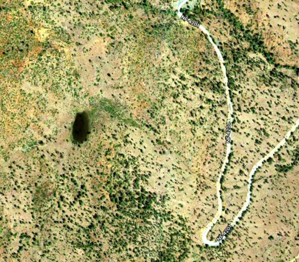 Satellite image showing a sag pond above the TJ Howell Botanical Drive near Cave Junction, Oregon