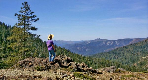 Photo of person looking toward the Kalmiopsis Wilderness. Taken in 2001 prior to the Biscuit Fire, Cave Junction, Oregon