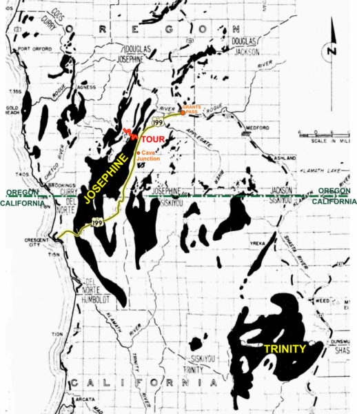 Map showing the locations of mantle rock exposures in southern Oregon and northern California and the location of the TJ Howell Botanical Drive, Cave Junction, Oregon