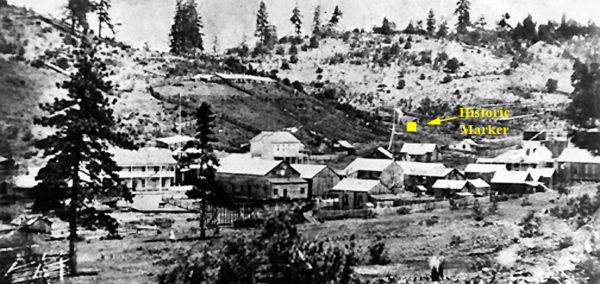 Photo of Waldo taken in the 1880s and showing the location of the historic marker near Cave Junction, Oregon