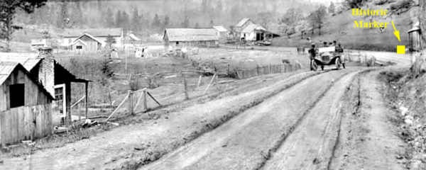 Photo of Waldo Oregon in the early 1920s showing the location of the Waldo historic marker near Cave Junction, Oregon