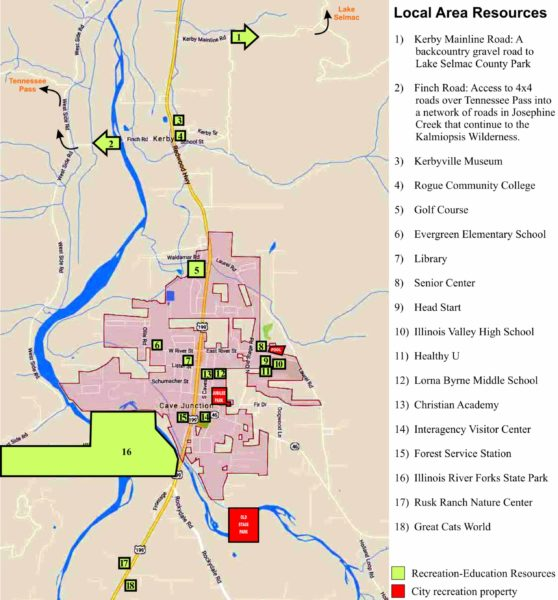 Map showing recreational resources in and around Cave Junction Oregon