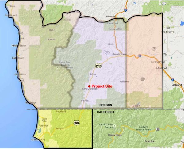 Map showing Oregon's Little League District Eight, Cave Junction, Oregon