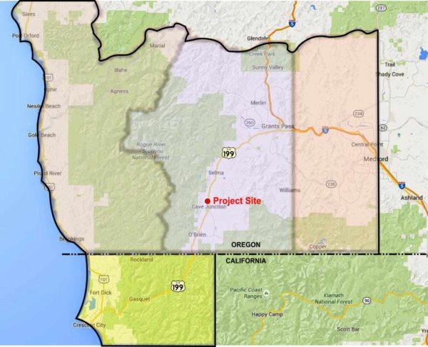 Map showing Oregon's Little League District Eight, Cave Junction, Oregon